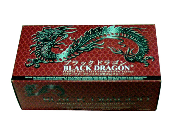 BLACK DRAGON POWDER-FREELATEX EXAMINATIONGLOVE S-M-L 进口黑龙无粉手套 S-M-L